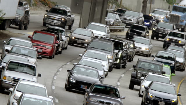 Angled view of approaching northbound traffic on 110 freeway in LA video