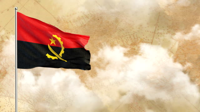 Angola 3D Flag on  historical background then blue sky background video
