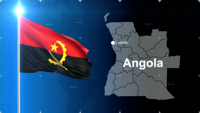 Angola 3D Flag with map + Green screen video