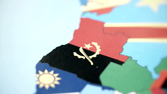 Angola Borders with National Flag on World Map video