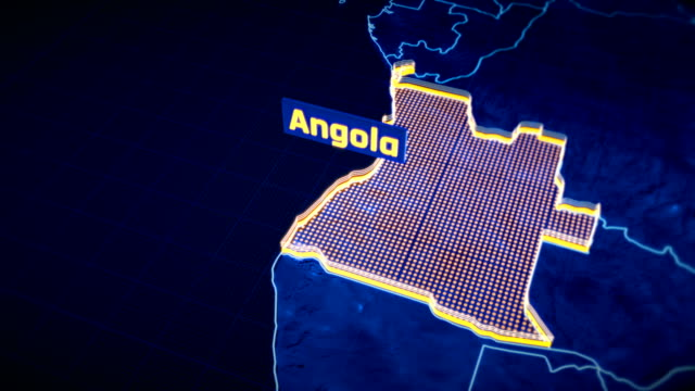 Angola country border 3D visualization, modern map outline, travel video