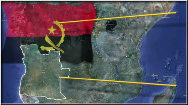 Angola flag and map animation video