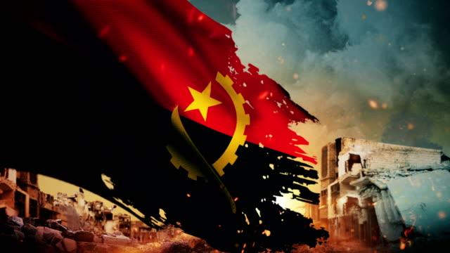 4K Angola Flag - Crisis / War / Fire (Loop) video