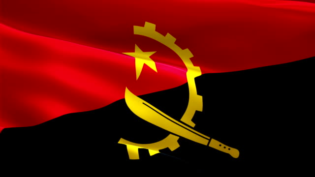 angola flag motion loop video waving in wind. realistic angolan flag background. angola flag looping closeup 1080p full hd 1920x1080 footage. angola african country flags footage video for film,news - kiss стоковые видео и кадры b-roll
