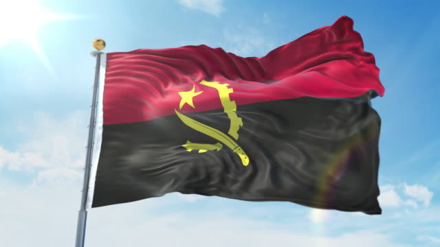 Angola flag waving in the wind against deep blue sky. National theme, international concept. 3D Render Seamless Loop 4K Angola flag waving in the wind against deep blue sky. National theme, international concept. 3D Render Seamless Loop 4K allegory painting stock videos & royalty-free footage