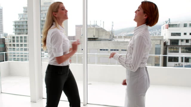 Angry businesswoman having a cat fight video