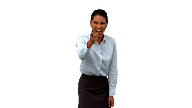 Angry businesswoman pointing on white screen video