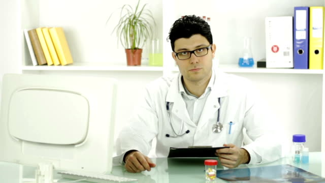 Angry Doctor Thumbs Down Sign Bad News Concept video