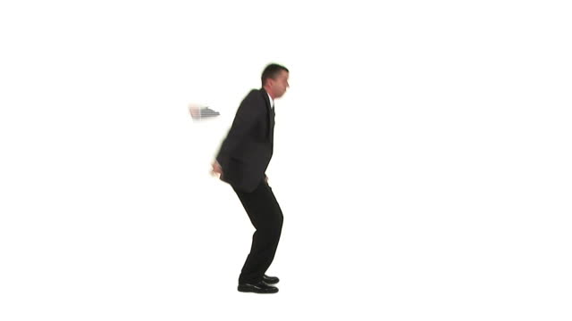 HD TIME-LAPSE LOOP: Angry Man HD1080i: ENDLESS LOOP in a TIME-LAPSE of a businessman gesturing wildly, stamping and acting all irritated while standing isolated on a white background. Wide shot, profile view. stamping feet stock videos & royalty-free footage