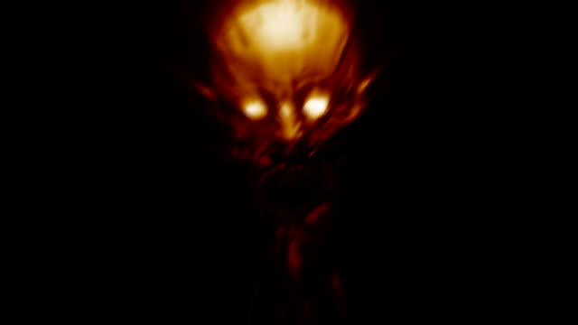 Angry monster rushes on the camera. Angry monster rushes on the camera. Scary demon character in orange colors. Looped video in genre of horror. ghost icon stock videos & royalty-free footage