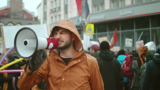 Angry rebel yell in megaphone. Activist political strike. Demonstration event. video