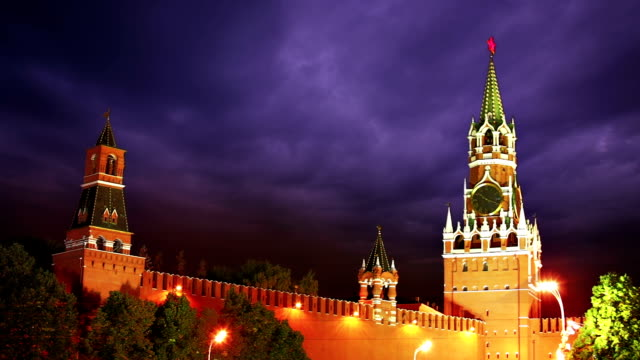 Angry symbol of Russia Russian symbol Moscow Kremlin under danger sky.  russian culture stock videos & royalty-free footage