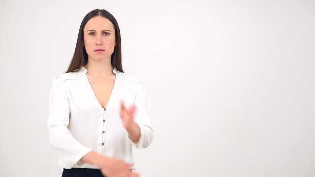 Angry woman with reject gesture video