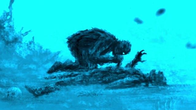 angry zombie sits and eats its prey. blue color. - potwór filmów i materiałów b-roll