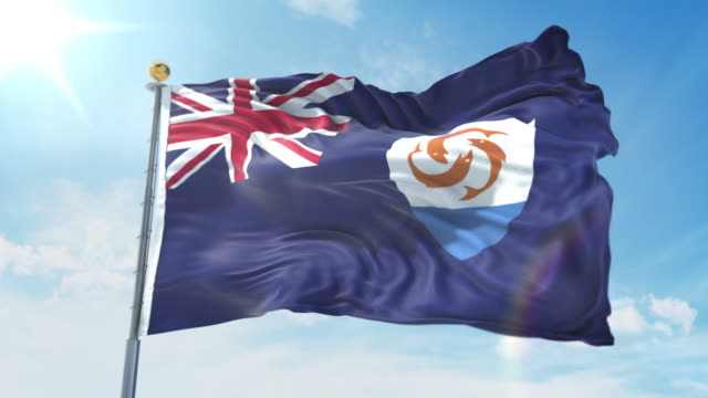 Anguilla flag waving in the wind against deep blue sky. National theme, international concept. 3D Render Seamless Loop 4K Anguilla flag waving in the wind against deep blue sky. National theme, international concept. 3D Render Seamless Loop 4K allegory painting stock videos & royalty-free footage