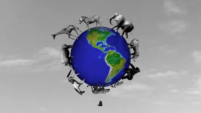 animals circle the world globe