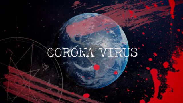 анимировать название коронавируса над планетой земля. - состаривание стоковые видео и кадры b-roll