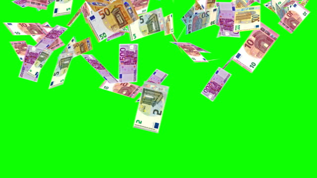 animate euro currency banknotes come as rain fallen from sky on green screen background - valuta dell'unione europea video stock e b–roll