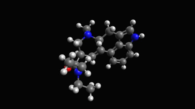 Animated 3D ball-and-stick model of lysergic acid diethylamide (LSD) Lysergic acid diethylamide, also known colloquially as acid, is a hallucinogenic drug, black background, 3D animation chemical formula stock videos & royalty-free footage