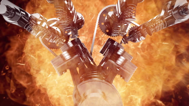 Animated 3D V8 Engine With Explosions