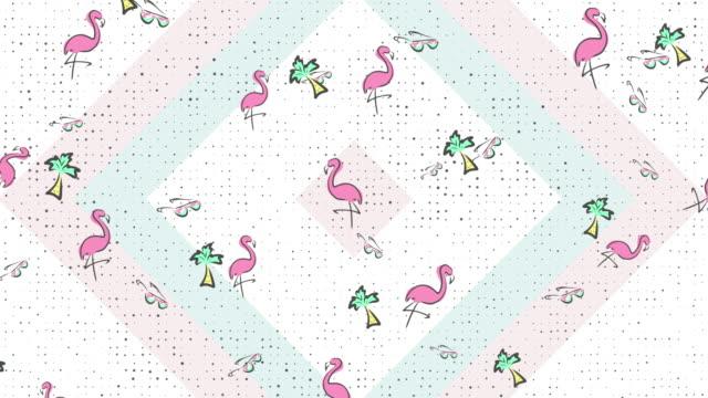Animated 90s Style Flamingo Background Pattern