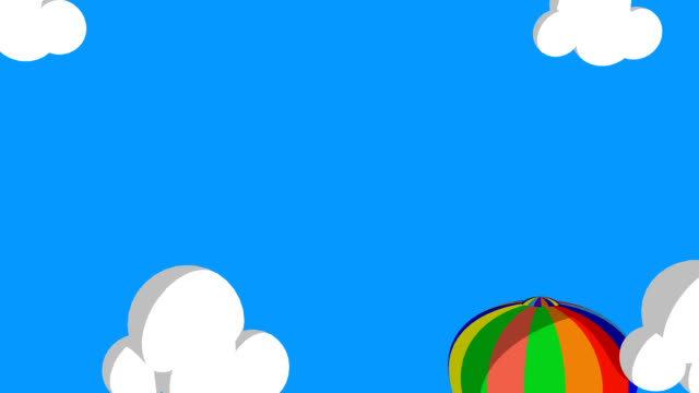 3D Animated Air Ballon Flying Through The Clouds video