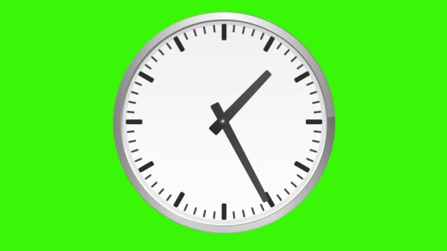 Animated analog clock, time lapse, on green screen