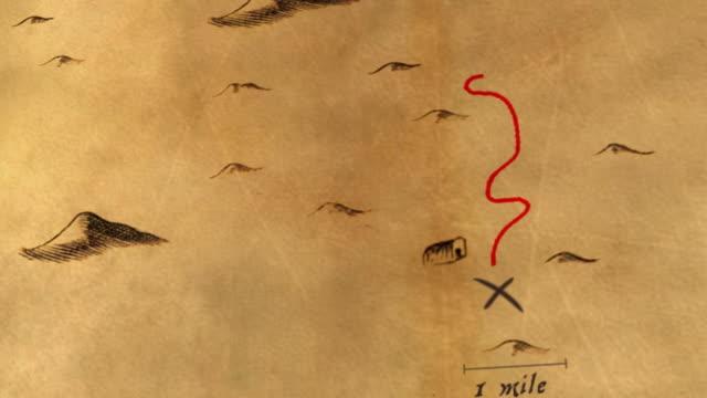 animato antico mappa del tesoro - scatola del tesoro video stock e b–roll