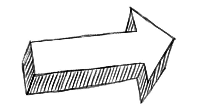 animated arrow, chalk stroke on a white background, ideal for compositing, use as a mask, ideal for data, graphics and diagrams - arrow filmów i materiałów b-roll