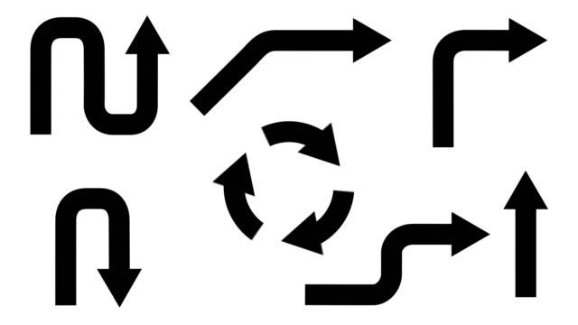 анимированные стрелки в разных направлениях на прозрачном фоне. - arrow стоковые видео и кадры b-roll