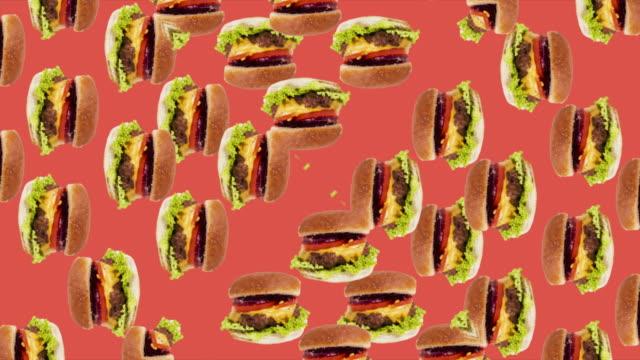 Animated background with Hambúrger kaleidoscope effect red background