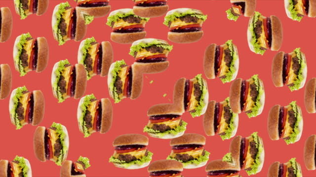vídeos de stock e filmes b-roll de animated background with hambúrger kaleidoscope effect red background - hambúrguer comida