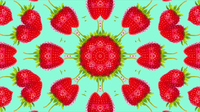 animated background with kaleidoscope effect with strawberries - узор калейдоскоп стоковые видео и кадры b-roll