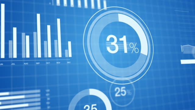 3d animated bar graphs and pie charts slick, clean, elegant white on blue background. great for corporate presentations - diagram filmów i materiałów b-roll