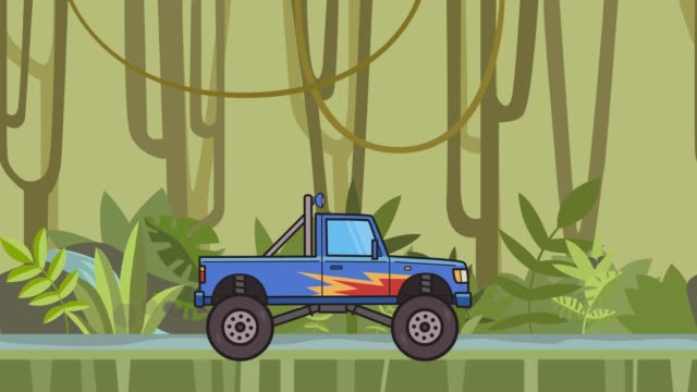 animated big wheel monster truck riding through rainforest. moving bigfoot truck on jungle and river background. flat animation. - bigfoot video stock e b–roll