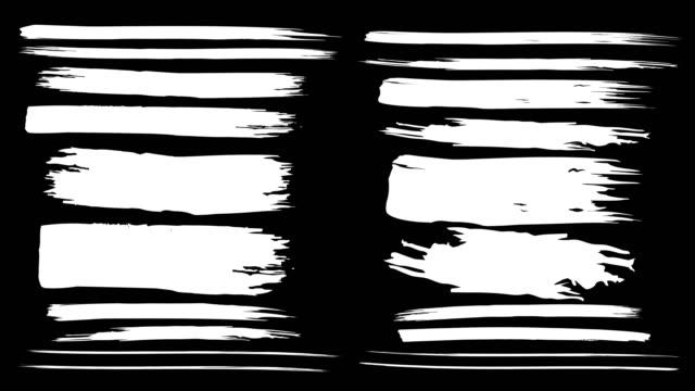 animierte pinselstriche auf schwarzem hintergrund. - spruchband stock-videos und b-roll-filmmaterial
