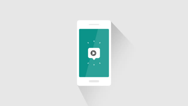 Animated bubble on smartphone with video play or views number counter in increasing progression