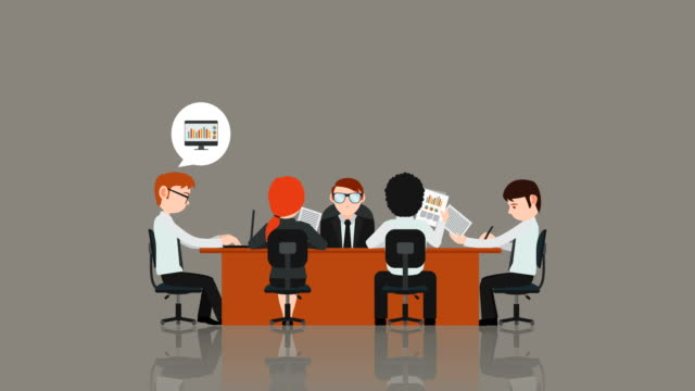 Animated Cartoon Business Meeting An animated cartoon of a business meeting with five people sitting at a desk and balloon thoughts appearing over their heads. office illustrations videos stock videos & royalty-free footage
