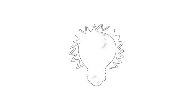 animated cartoon lightbulb loop invention or idea concept - scarabocchio motivo ornamentale video stock e b–roll