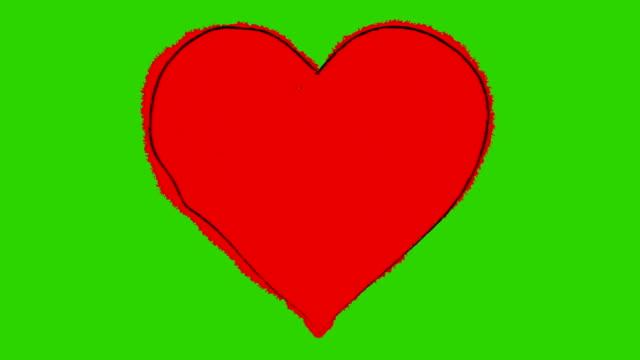 vídeos de stock e filmes b-roll de bater desenho animado de um grande coração vermelho em uma tela verde - imagem pulsante