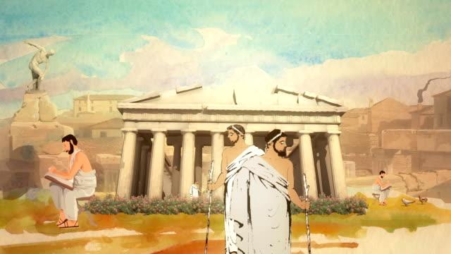 vídeos de stock, filmes e b-roll de desenho animado os estudiosos do partenon, em atenas, na grécia antiga - atenas grécia