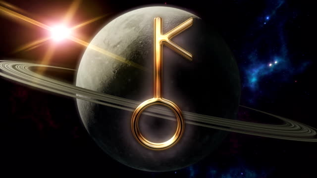 Animated chiron zodiac horoscope symbol and planet. 3D rendering video