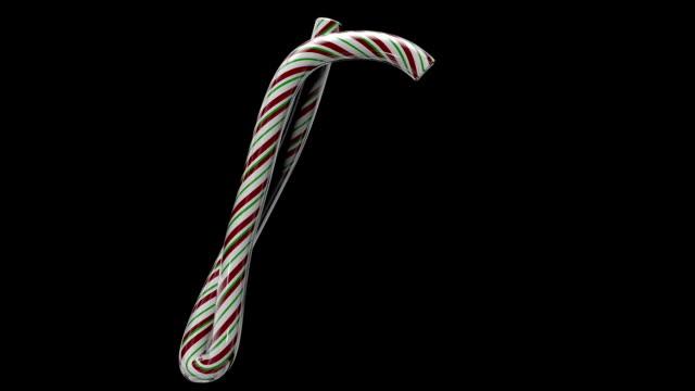 Animated Christmas candy cane typeface P