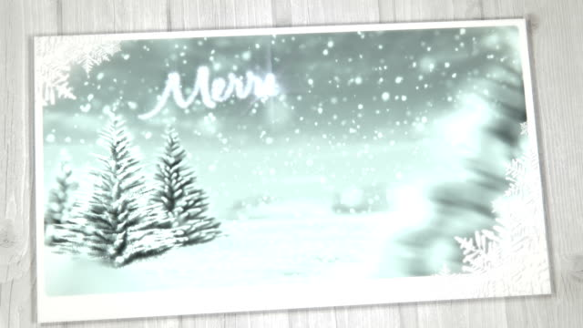 Animated Christmas Card (Blue) - Copy Space, Loopable