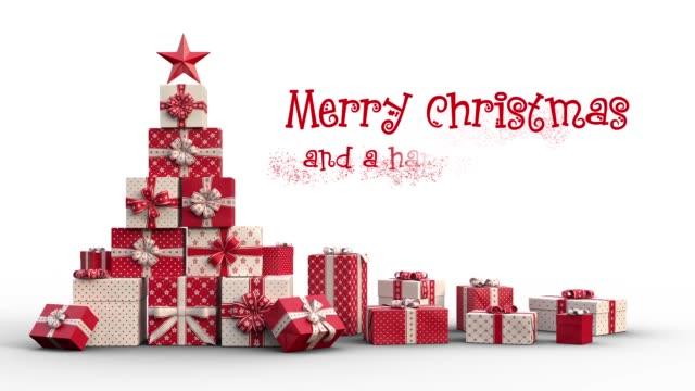animerade jul gratulationskort med jultomten och en bunt med presenter och god jul text - på tå bildbanksvideor och videomaterial från bakom kulisserna