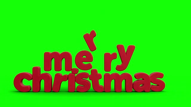 animated christmas greeting card with santa claus and merry christmas in 3d letters on green background - santa claus tiptoeing video stock e b–roll