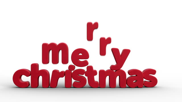 animated christmas greeting card with santa claus and merry christmas in 3d letters on white background - santa claus tiptoeing video stock e b–roll