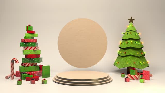 vídeos de stock e filmes b-roll de 3d animated christmas scene with copyspace room for your text - christmas card