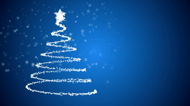 Animated Christmas tree on blue snowing background'
