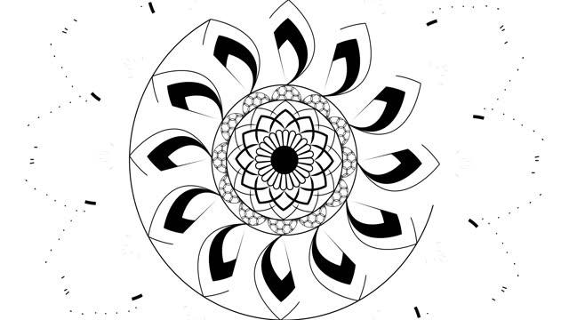 vídeos de stock, filmes e b-roll de 4k desenho do padrão de mandala em preto e branco do círculo animado. vídeo gráfico desenhado à mão artística. transição 4k perfeita ou introdução para qualquer programa de tv, notícias ou filme. melhor para o design de palco. - mandala